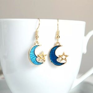 Jewelry - Blue moon and star drop earrings gold 18k gilded